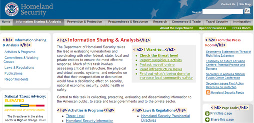 Screen Shot Of Dhs Page With Headings