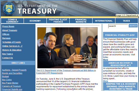 Screen hot of Treasury Department home page
