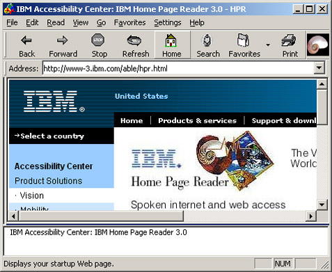 Screen shot of HPR user interface