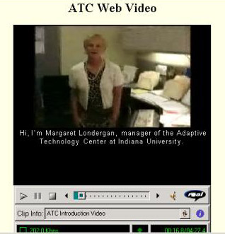 Screen shot of ATC example of captioned video
