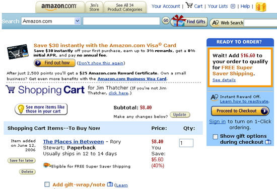 Amazon.com cart page, screen shot