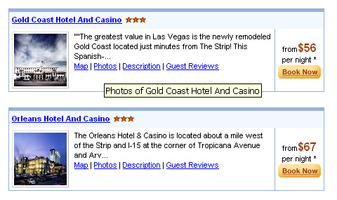Priceline.com screen shot - Data for two hotels including links map, photos, details, guest reviews and book now.