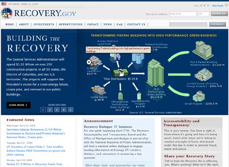 Screen shot of recovery.gov home page