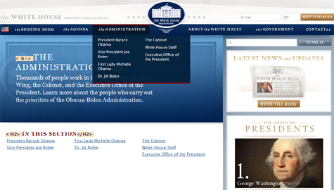 Screen shot showing fly-out menus on whitehouse.gov