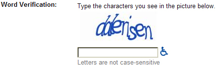 Screen shot of Google CAPTCHA