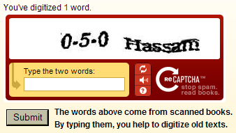 Screen shot of reCAPTCHA