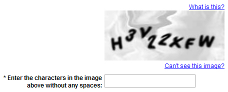 Screen shot of AOL visual captcha