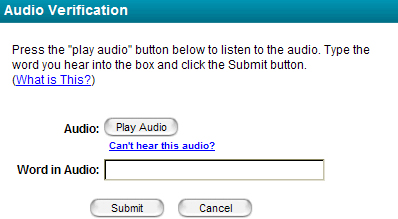 Screen shot of ne windos that contins interface for audio CAPTCHA